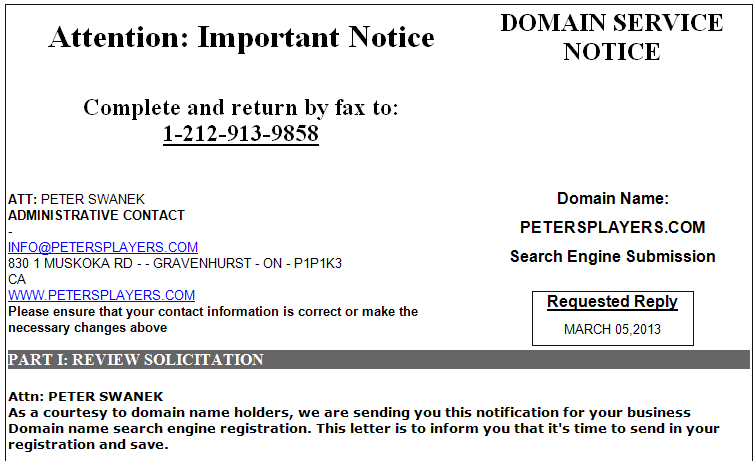 Domain Renewal Scams